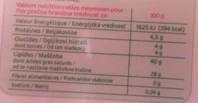 Mascarpone 40%mg - Informations nutritionnelles - fr