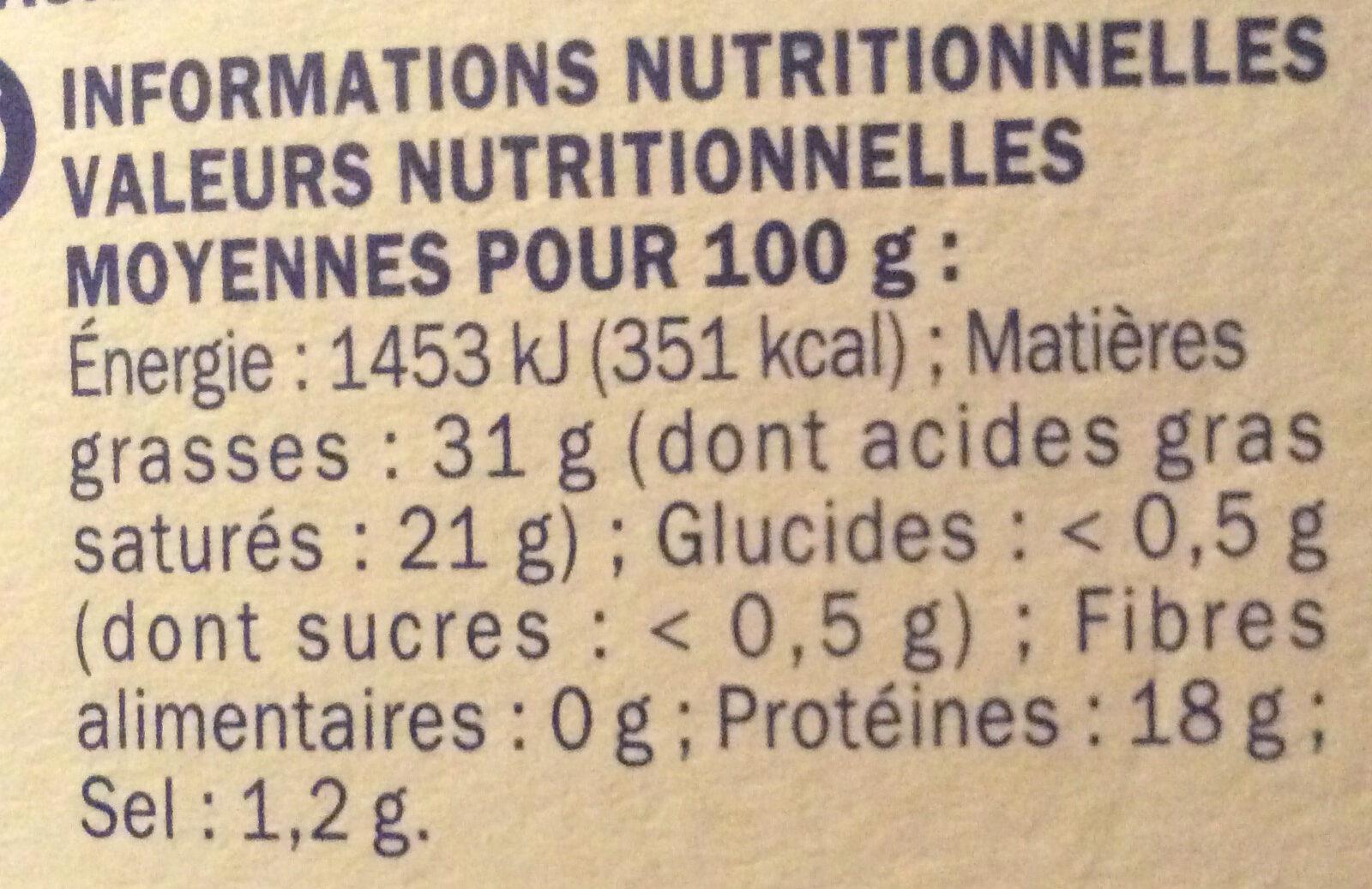 Coeur de crème 31% mg - Informations nutritionnelles - fr