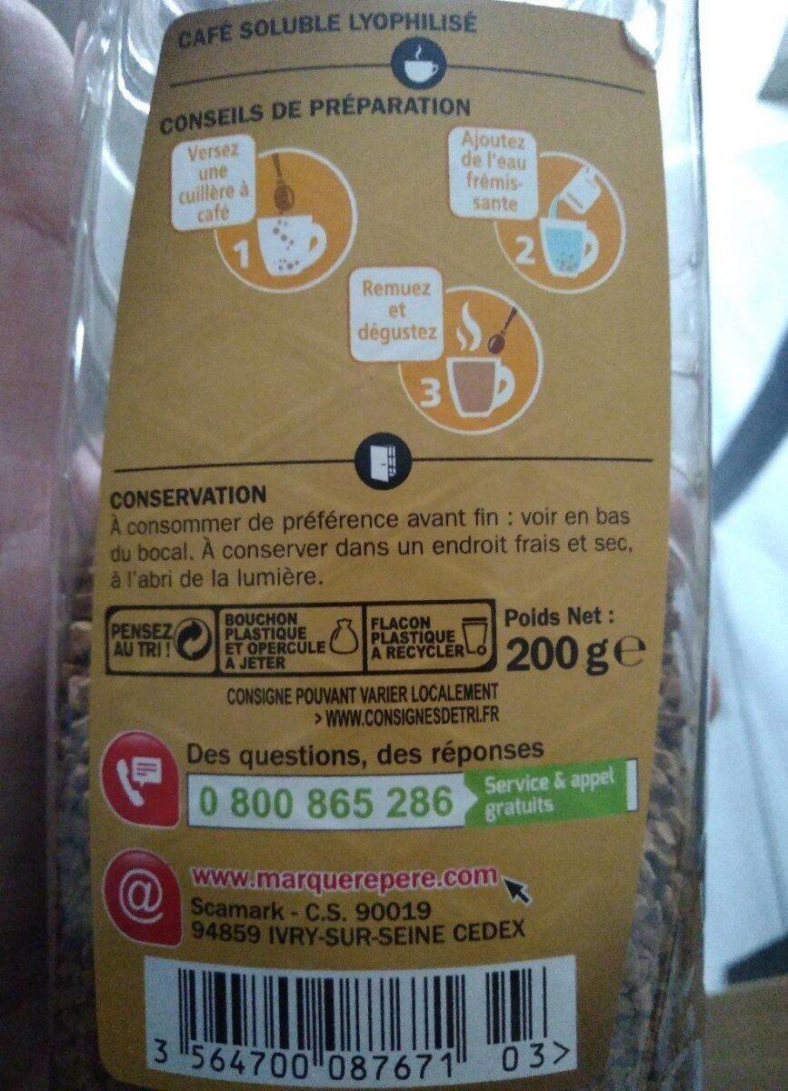 Café soluble lyophilisé - Informations nutritionnelles - fr