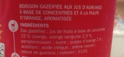 Soda pulpe orange sanguine - Ingredients - fr