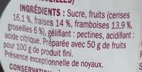 Confiture 4 fruits rouges - Ingrédients - fr