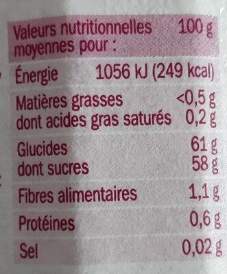 Confiture 4 fruits rouges - Valori nutrizionali - fr