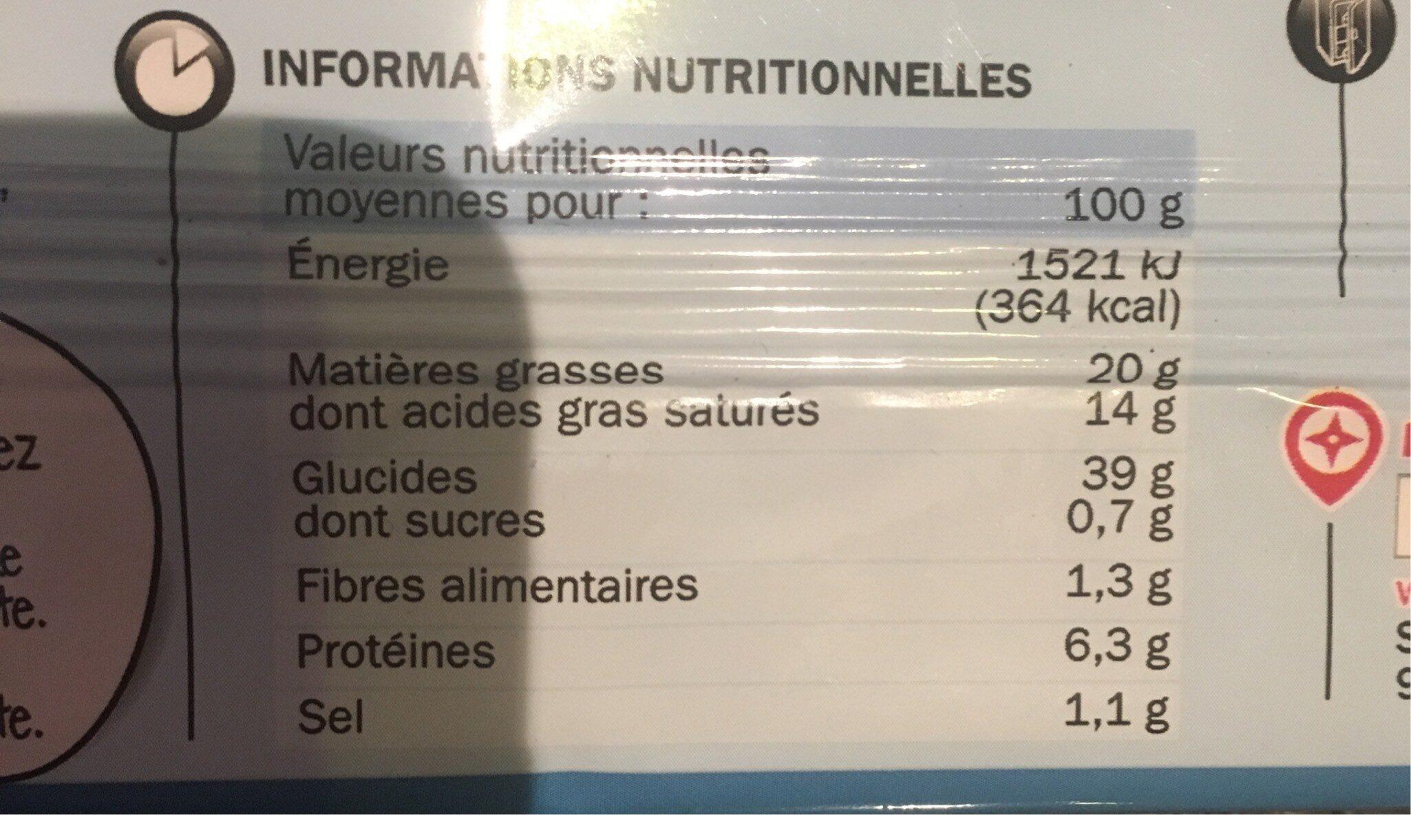 Pâte feuilletée pur beurre - Nutrition facts - fr