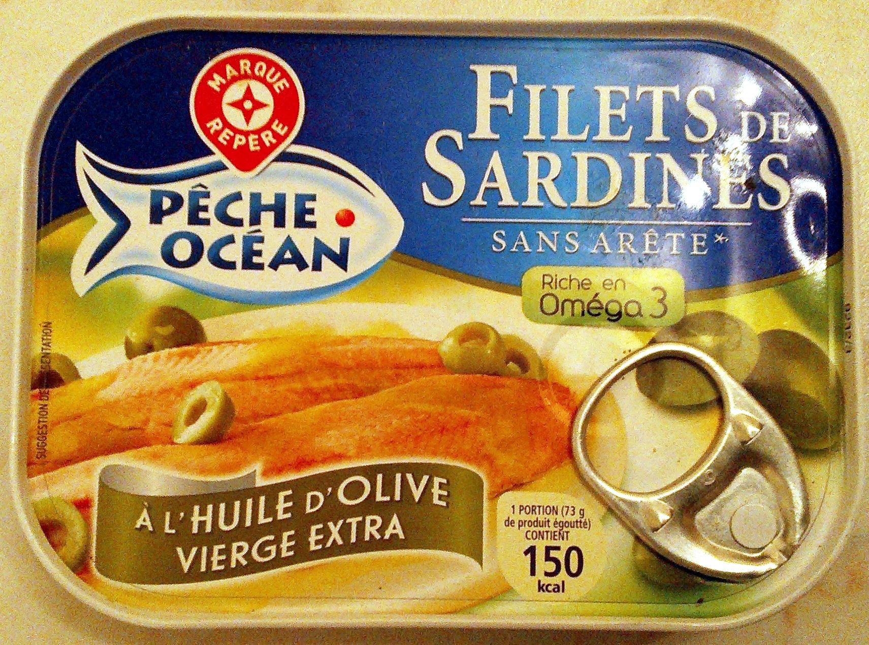 filets de sardines l 39 huile d 39 olive vierge extra p che. Black Bedroom Furniture Sets. Home Design Ideas