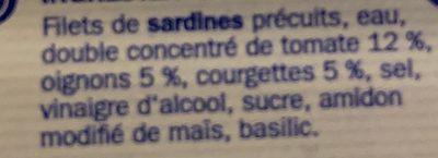 Filets de Sardines à la Tomate et aux petits légumes - Ingrediënten