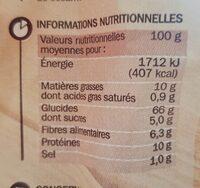 Pains suédois au blé complet - Voedingswaarden - fr