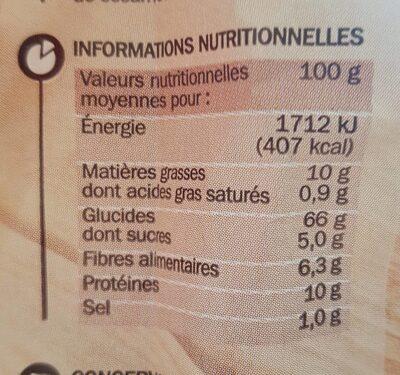 Pains suédois au blé complet - Nutrition facts - fr