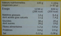 Cônes vanille/chocolat x 6 - Nutrition facts