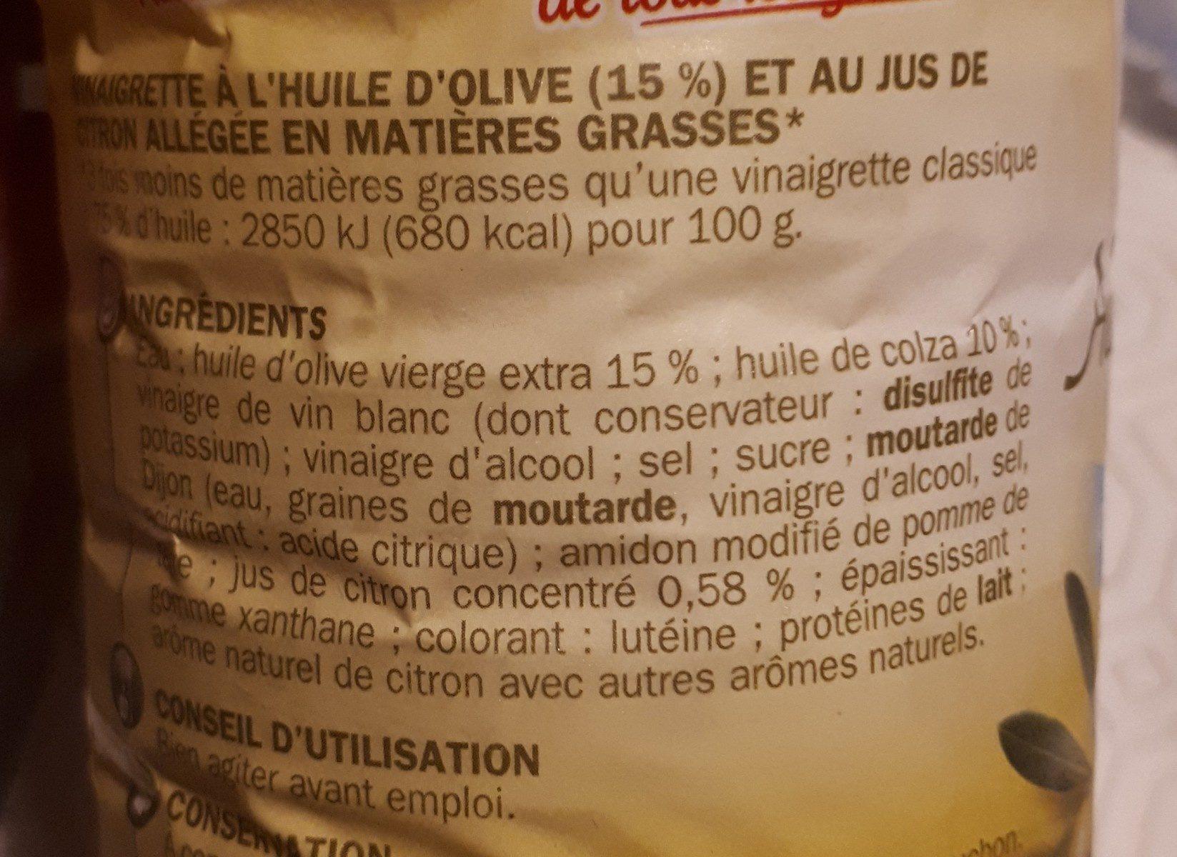 Vinaigrette olive citron - Ingrédients