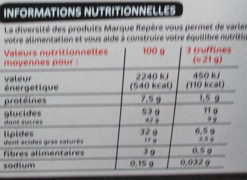Biscuits meringués fourrés chocolat - Nutrition facts