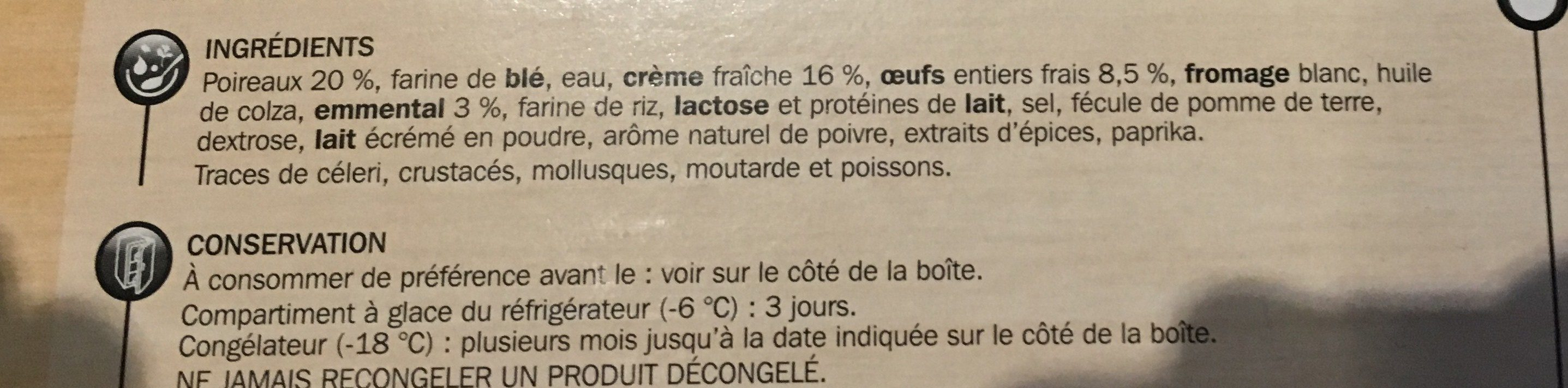 Tarte aux poireaux - Ingrédients - fr