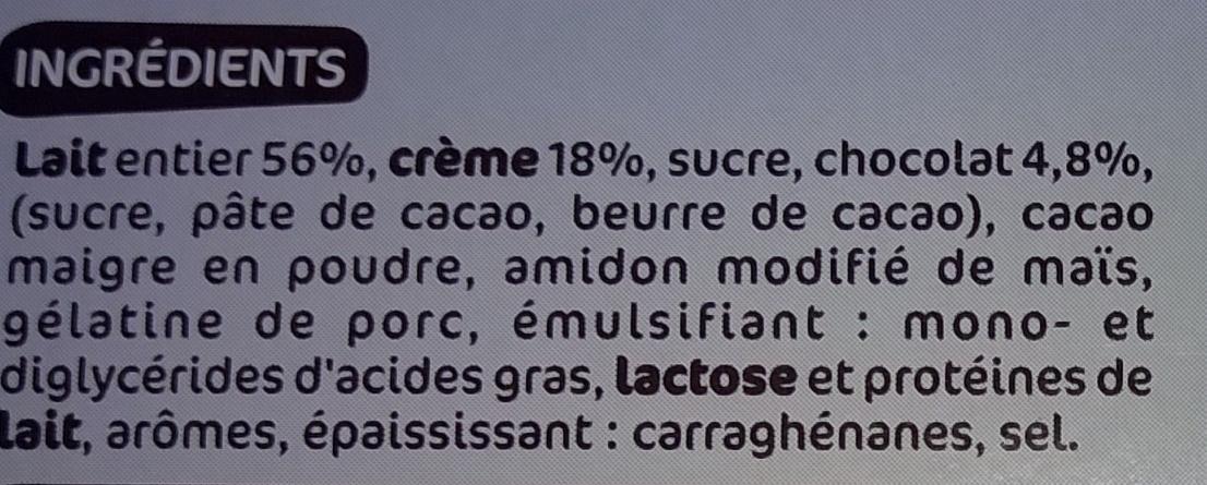 Crèmes à la liégeoise au chocolat - Ingredients - fr