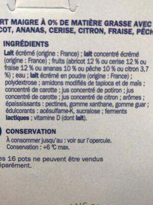 Deli'light aux fruits 0% - Ingredients