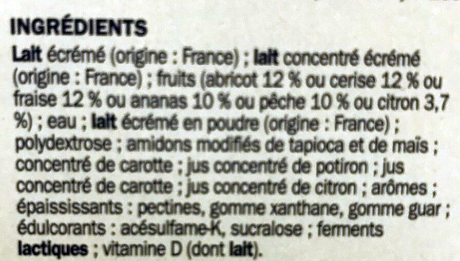 Yaourts Fruits 0% Déli'light - Ingredientes - fr
