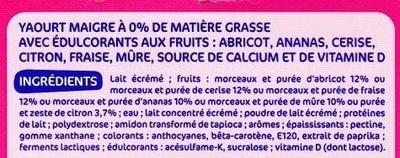 Déli'light aux Fruits (0 % MG, 0 % sucres ajoutés) - Ingrédients