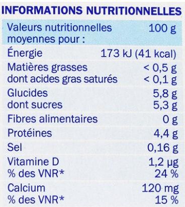 Yaourts Fruits 0% Déli'light - Información nutricional - fr