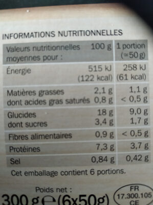 Crêpes 1/2 lune jambon fromage x 6 - Informations nutritionnelles - fr