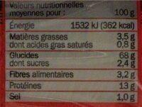 Pâtes chinoises aux oeufs - Nutrition facts - fr