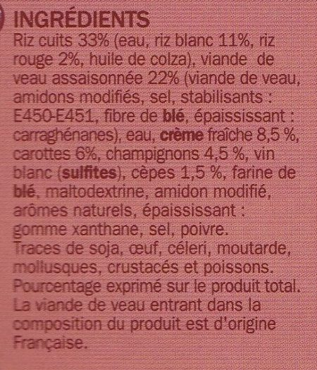 Blanquette de Veau aux champignons et duo de Riz Cuisiné - Ingrédients - fr
