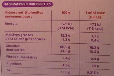 Mini-cakes aux fruits - x 10 - Voedingswaarden - fr