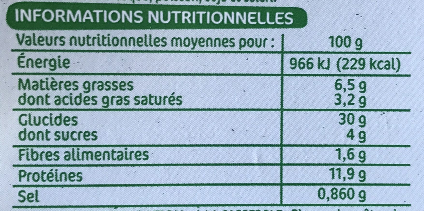 Raviolis au jambon - Nutrition facts