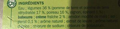 Velouté poireaux pomme de terre - Ingrédients