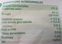 Bouquet de mache - Informations nutritionnelles - fr