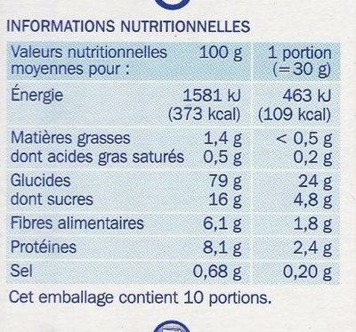 Form'flakes - Informations nutritionnelles