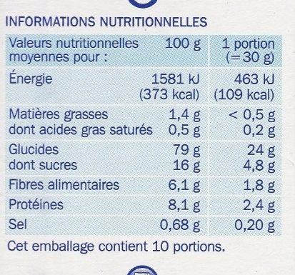 Forme flakes pétales de riz et de blé aux fruits rouges - Nutrition facts - fr
