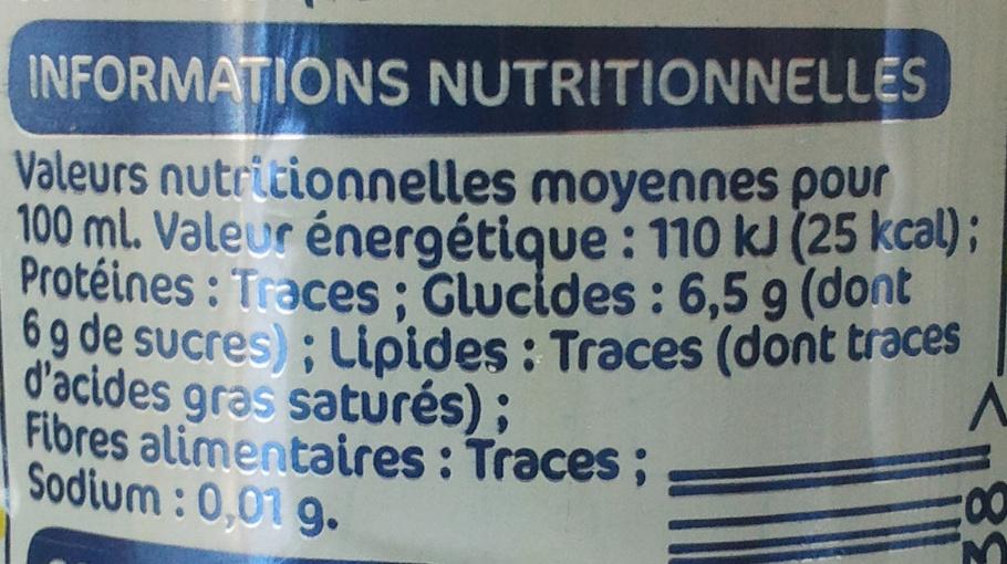 Fresh Tea Pêche - Informations nutritionnelles