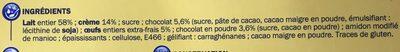 Petit pot de crème chocolat - Ingrédients