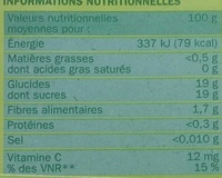 Compote pomme x 16 - Nutrition facts