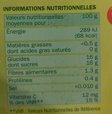 Dessert de fruits pomme banane x4 - Informations nutritionnelles - fr