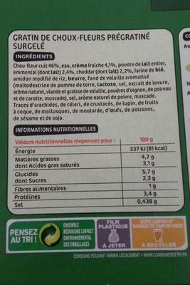 Gratin de choux-fleurs à la béchamel - Ingrediënten - fr