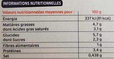 Gratin de choux-fleurs à la béchamel - Voedingswaarden - fr