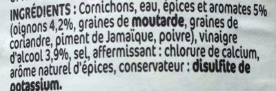 Cornichons 5 aromates extra fins - Ingredients