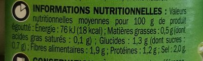 Cornichons 5 aromates extra fins - Nutrition facts