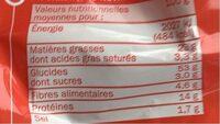 Snacks croustillants cacahuète - Informations nutritionnelles - fr