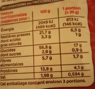 Snacks croustillants cacahuète - Informations nutritionnelles
