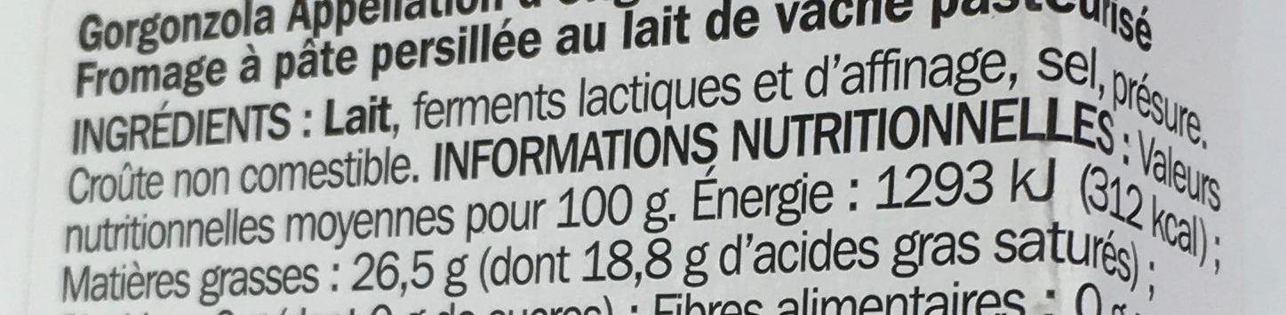 Gorgonzola 26% Mat. Gr. - Ingredientes - fr