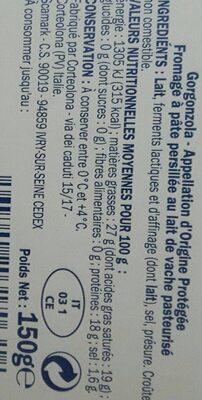 Gorgonzola DOP - Voedingswaarden - fr