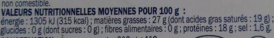 Gorgonzola 26% Mat. Gr. - Informação nutricional - fr