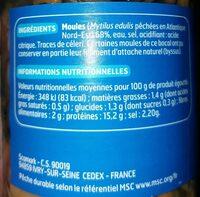 Moules au Naturel - Nutrition facts - fr