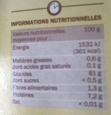 Riz long étuvé rapide 10' - Nutrition facts - fr