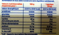 Olive Huile d'olive vierge extra 60% MG (Tartine et Cuisson) - Informations nutritionnelles