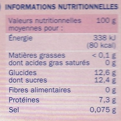 Fromage frais aux fruits 0 % Mat. Gr. 'Délidoux' - Informations nutritionnelles - fr