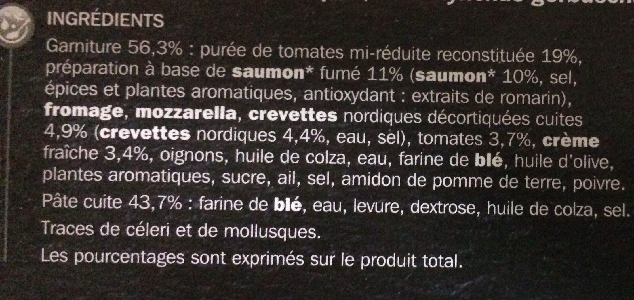 Pizza saumon crevette - Ingrédients - fr