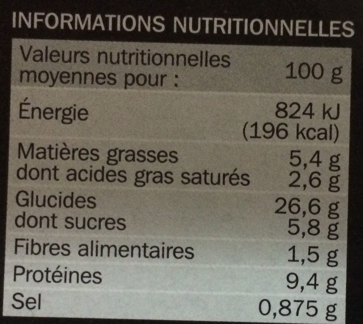 Pizza saumon crevette - Informations nutritionnelles - fr