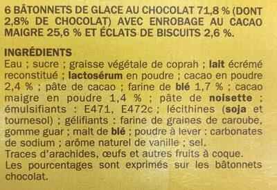 Bâtonnets vanille chocolat x 12 - Ingrédients - fr