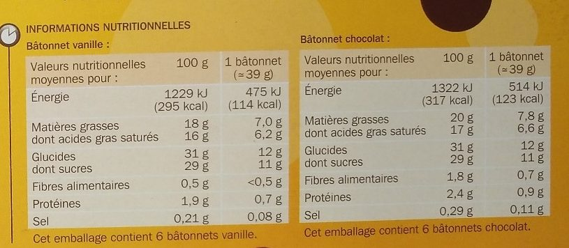 Bâtonnets vanille chocolat x 12 - Informations nutritionnelles - fr